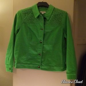 Liz Claiborne Apple Green Jean Jacket Sz 16